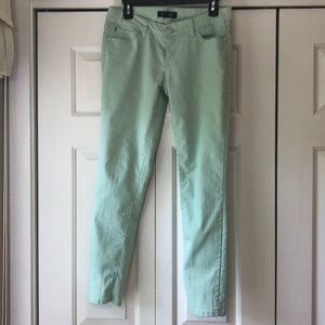 Mint colored skinny jeans